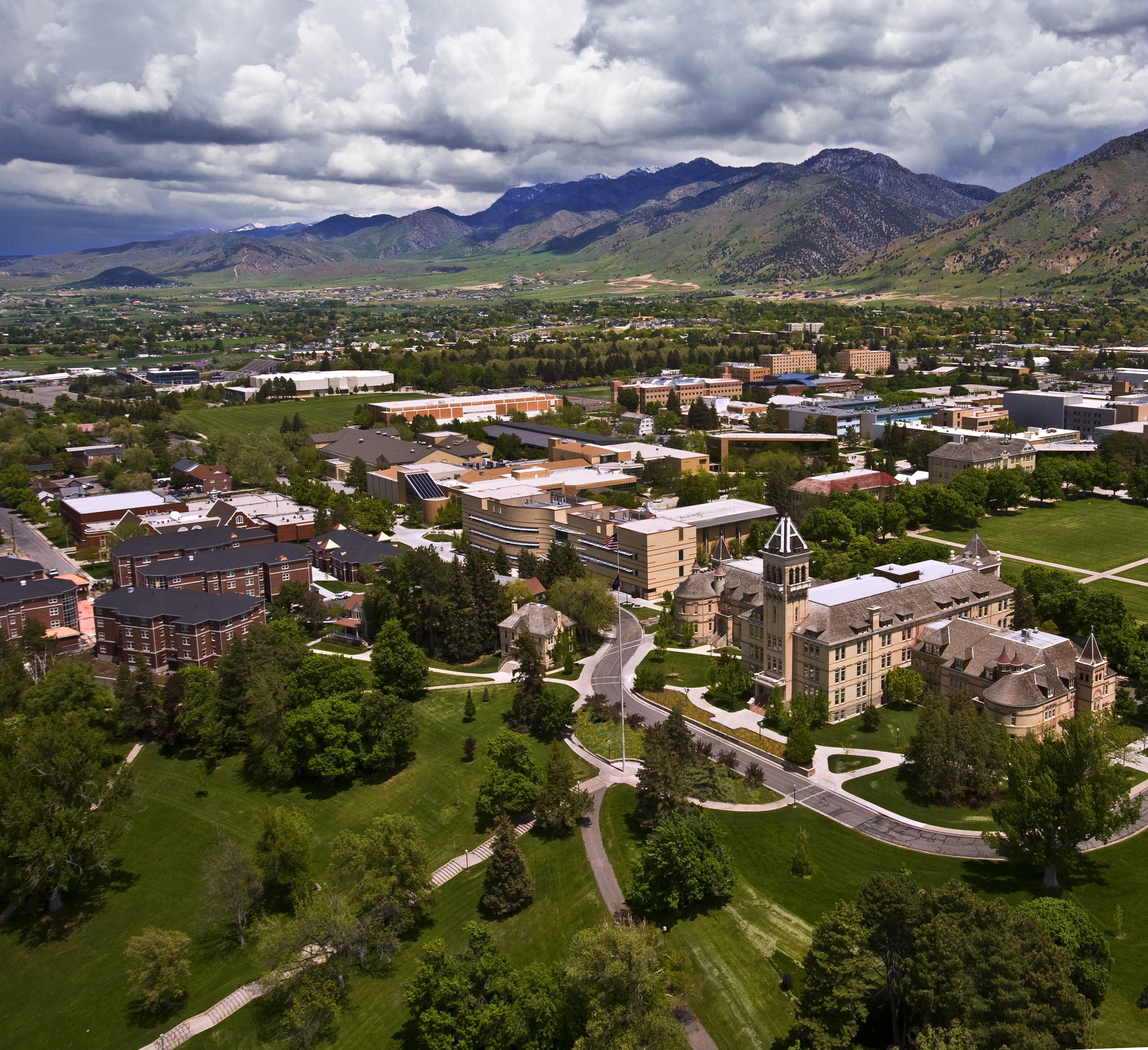 A bird's eye view of the USU campus.